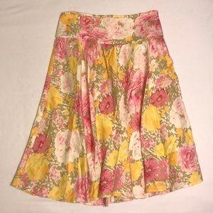 LIKE NEW LOFT High Waisted Linen Floral Skirt